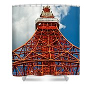 Tokyo Tower Face Cloudy Sky Shower Curtain by Ulrich Schade