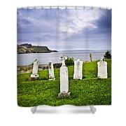Tombstones Near Atlantic Coast In Newfoundland Shower Curtain by Elena Elisseeva
