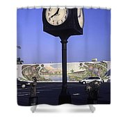 Town Clock Shower Curtain by Sally Weigand