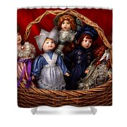 Toy - Dolls - A Basket Of Victorian Dolls Shower Curtain by Mike Savad