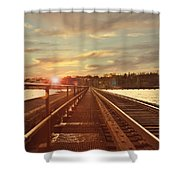 Tracks to Greatness Shower Curtain by Joel Witmeyer