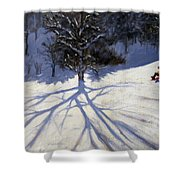 Tree and two tobogganers Shower Curtain by Andrew Macara