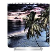 Tropical Evening Shower Curtain by Cheryl Young