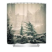Turret In Snow Shower Curtain by Silvia Ganora