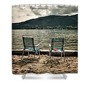 Two Chairs Shower Curtain by Joana Kruse