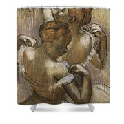 Two Dancers Adjusting Their Shoulder Straps Shower Curtain by Edgar Degas