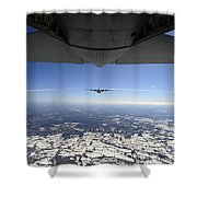 Two Ec-130j Commando Solo Aircraft Fly Shower Curtain by Stocktrek Images