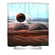 Two Jet Aircraft Fly Over Dome Shower Curtain by Corey Ford
