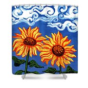Two Sunflowers Shower Curtain by Genevieve Esson