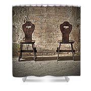 Two Wooden Chairs Shower Curtain by Joana Kruse