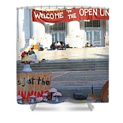 UC Berkeley . Sproul Hall . Sproul Plaza . Occupy UC Berkeley . The Is Just The Beginning . 7D10018 Shower Curtain by Wingsdomain Art and Photography