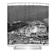 Union Pacific Diesels And Monsoon Shower Curtain by Jack Pumphrey
