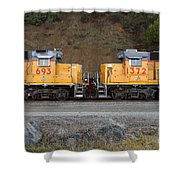 Union Pacific Locomotive Trains . 7D10573 Shower Curtain by Wingsdomain Art and Photography