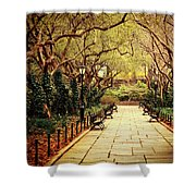 Urban Forest Primeval - Central Park Conservatory Garden In The Spring Shower Curtain by Vivienne Gucwa