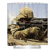 U.s. Air Force Soldier Fires The Mk48 Shower Curtain by Stocktrek Images