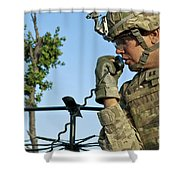 U.s. Army Soldier Calls For Indirect Shower Curtain by Stocktrek Images