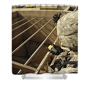 U.s. Army Soldier Takes A Gps Grid Shower Curtain by Stocktrek Images