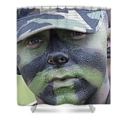 U.s. Army Soldier Wearing Camouflage Shower Curtain by Stocktrek Images