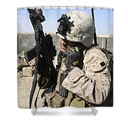 U.s. Marine Communicates With Fellow Shower Curtain by Stocktrek Images