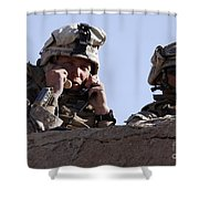 U.s. Marine Gives Directions To Units Shower Curtain by Stocktrek Images
