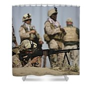 U.s. Marine Prepares To Fire A Pk Shower Curtain by Terry Moore