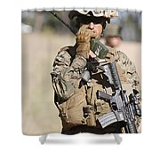 U.s. Marine Radios His Units Movements Shower Curtain by Stocktrek Images