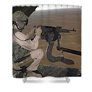 U.s. Marine Test Firing An M240 Heavy Shower Curtain by Stocktrek Images