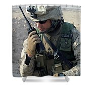 U.s. Marine Uses A Mbitr Anprc-148 Shower Curtain by Stocktrek Images