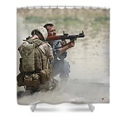 U.s. Marine Watches An Afghan Police Shower Curtain by Terry Moore