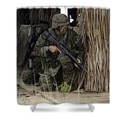 U.s. Marines Prepare To Enter A House Shower Curtain by Stocktrek Images