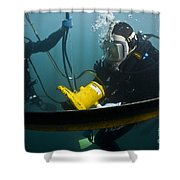 U.s. Navy Diver Instructs A Barbados Shower Curtain by Stocktrek Images