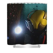 U.s. Navy Diver Welds A Repair Patch Shower Curtain by Stocktrek Images