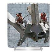 U.s. Navy Servicemen Apply A Coat Shower Curtain by Stocktrek Images