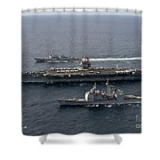 U.s. Navy Ships Transit The Atlantic Shower Curtain by Stocktrek Images