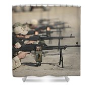 U.s. Soldiers Firing Pk 7.62 Mm Shower Curtain by Terry Moore