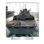 Usns Supply Conducts A Replenishment Shower Curtain by Stocktrek Images