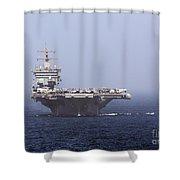 Uss Enterprise In The Arabian Sea Shower Curtain by Gert Kromhout