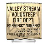 Vallet Stream Fire Department In Sepia Shower Curtain by Rob Hans