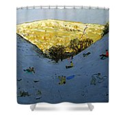 Valley And Sunlit Hillside Shower Curtain by Andrew Macara