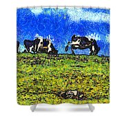 Van Gogh Goes Cow Tipping 7D3290 Shower Curtain by Wingsdomain Art and Photography