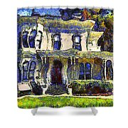 Van Gogh Visits The Old Victorian Camron-Stanford House in Oakland California . 7D13440 Shower Curtain by Wingsdomain Art and Photography
