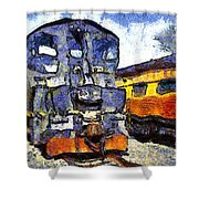 Van Gogh.s Locomotive . 7d11588 Shower Curtain by Wingsdomain Art and Photography