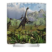 Velociraptor Dinosaurs Attack Shower Curtain by Mark Stevenson