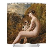 Venus And Cupid  Shower Curtain by William Etty
