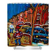 Verdun Rowhouses With Hockey - Paintings Of Verdun Montreal Street Scenes In Winter Shower Curtain by Carole Spandau