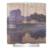 Vernon Church In Fog Shower Curtain by Claude Monet