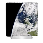 View Of Earth From Space Showing Shower Curtain by Stocktrek Images