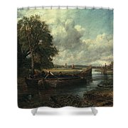 View Of The Stour Near Dedham Shower Curtain by John Constable