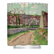 Village in Clohars Shower Curtain by Henry Moret