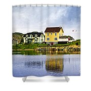 Village In Newfoundland Shower Curtain by Elena Elisseeva